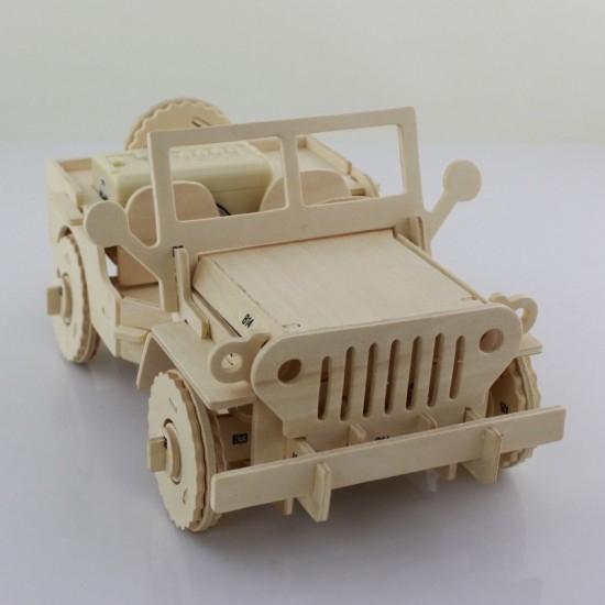 Puzzle mecanic 3D din lemn, cu telecomanda, Jeep, 94 [1]