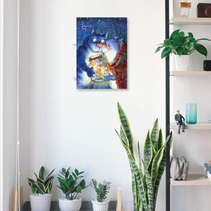 Set pictura pe numere, cu sasiu, Pisici - Dragoste cu Licurici 30x40 cm [3]