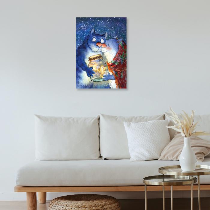 Set pictura pe numere, cu sasiu, Pisici - Dragoste cu Licurici 30x40 cm [4]