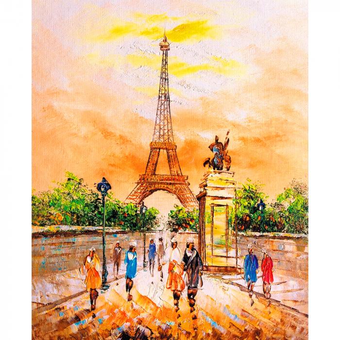Set pictura pe numere, cu sasiu, Turnul Eiffel 40x50 cm [0]