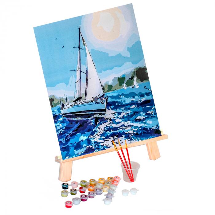 Set pictura pe numere, cu sasiu, Barca pe mare 1