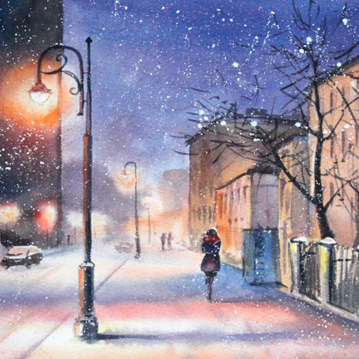 Set pictura pe numere, cu sasiu, Seara de iarna, 40x50 cm 1
