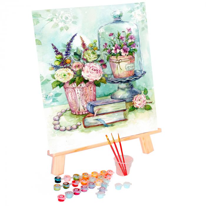 Set pictura pe numere, cu sasiu, Flori, 40x50 cm 0