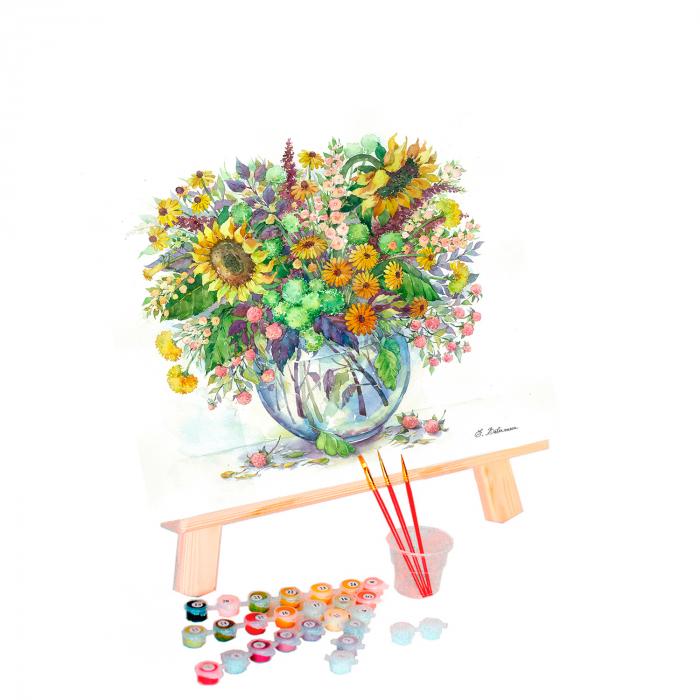 Set pictura pe numere, cu sasiu, Flori de camp 1