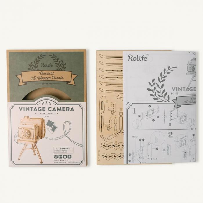 Puzzle 3D Camera Vintage, Lemn, 140 piese 2