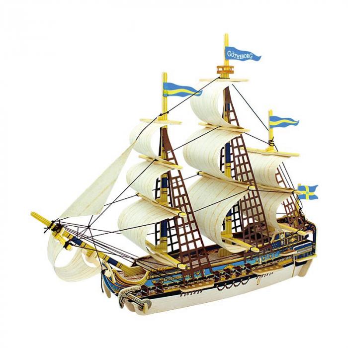 Puzzle 3D Corabie Gothenburg, Lemn, 53 piese 0