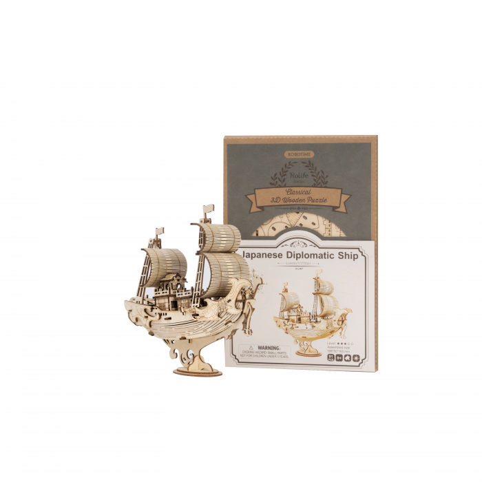 Puzzle 3D Japanese Diplomatic Ship, Lemn, 91 piese 2