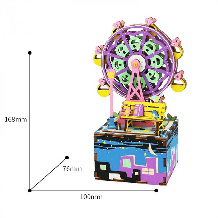 Puzzle 3D Cutie Muzicala, Ferris Wheel, Lemn, 69 de piese 4