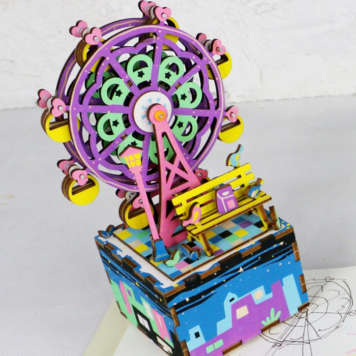 Puzzle 3D Cutie Muzicala, Ferris Wheel, Lemn, 69 de piese 2