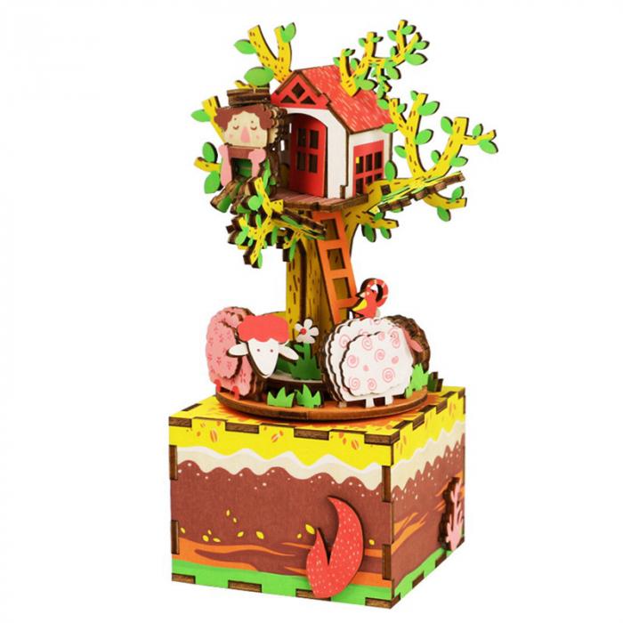 Puzzle 3D Cutie Muzicala, Casuta din copac, Lemn, 98 de piese 0