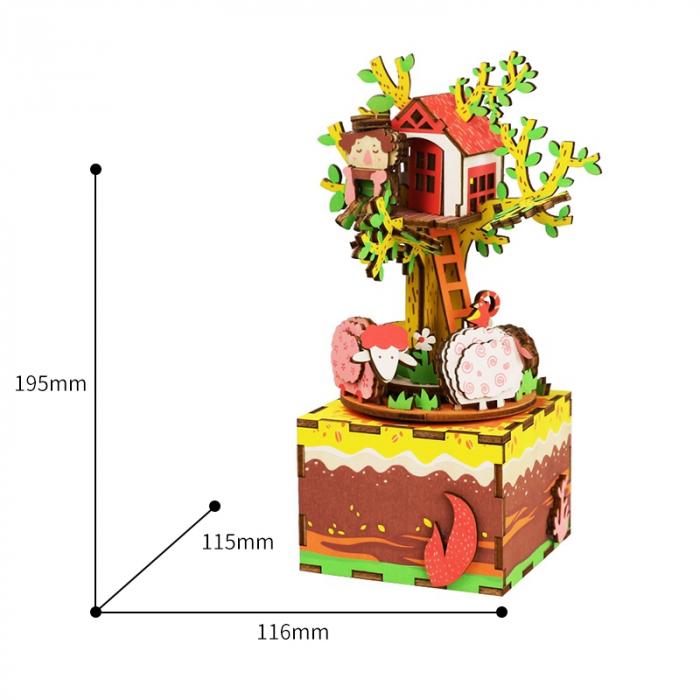Puzzle 3D Cutie Muzicala, Casuta din copac, Lemn, 98 de piese 3