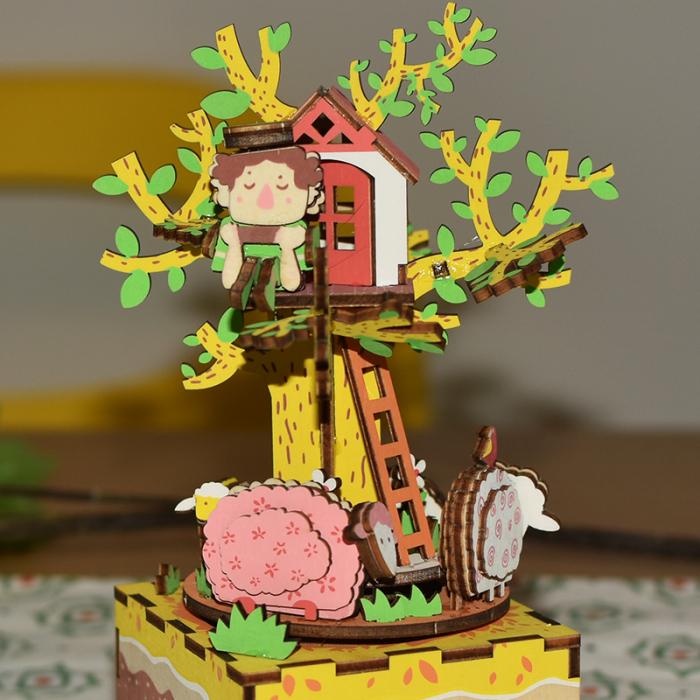 Puzzle 3D Cutie Muzicala, Casuta din copac, Lemn, 98 de piese 2
