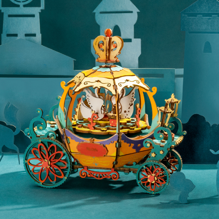 Puzzle 3D Cutie Muzicala, Pumpkin Carriage, Lemn [2]