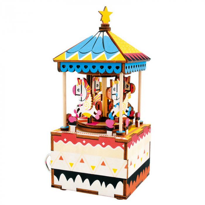 Puzzle 3D Cutie Muzicala, Carusel, Lemn, 118 piese [0]