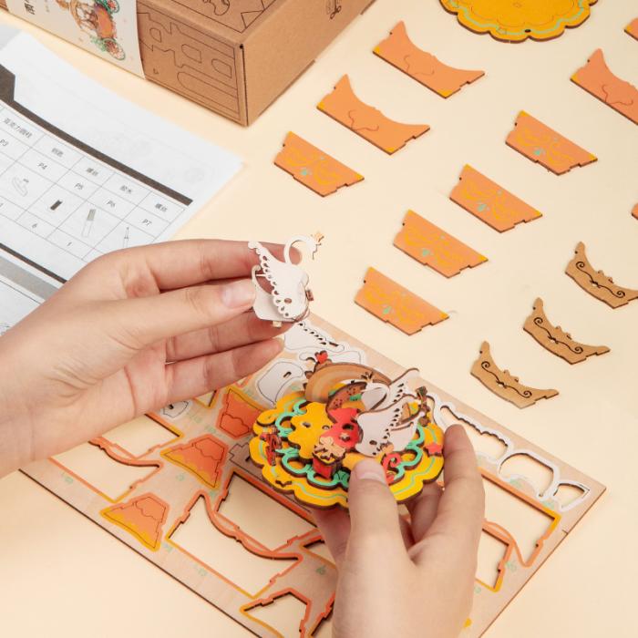 Puzzle 3D Cutie Muzicala, Orasul lui Mos Craciun, Lemn [1]