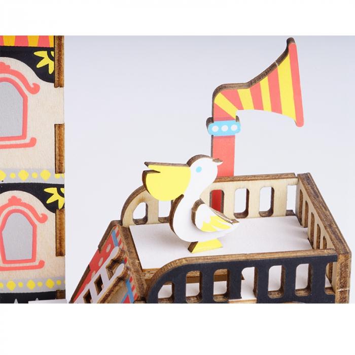 Puzzle 3D Cutie Muzicala, Fishing Kitty, Lemn, 96 de piese [5]