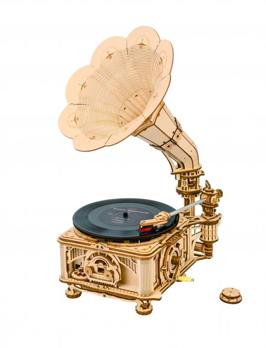 Puzzle 3D, cutiuta muzicala, Gramofon clasic cu manivela [0]