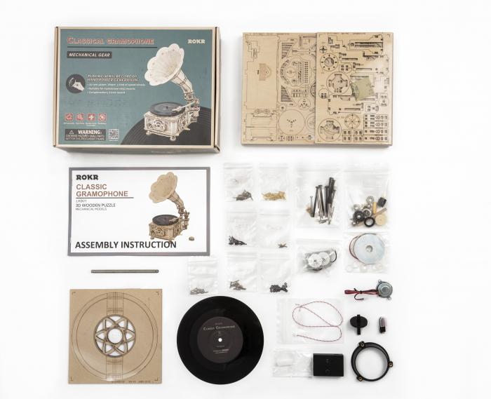 Puzzle 3D, cutiuta muzicala, Gramofon clasic cu manivela [6]