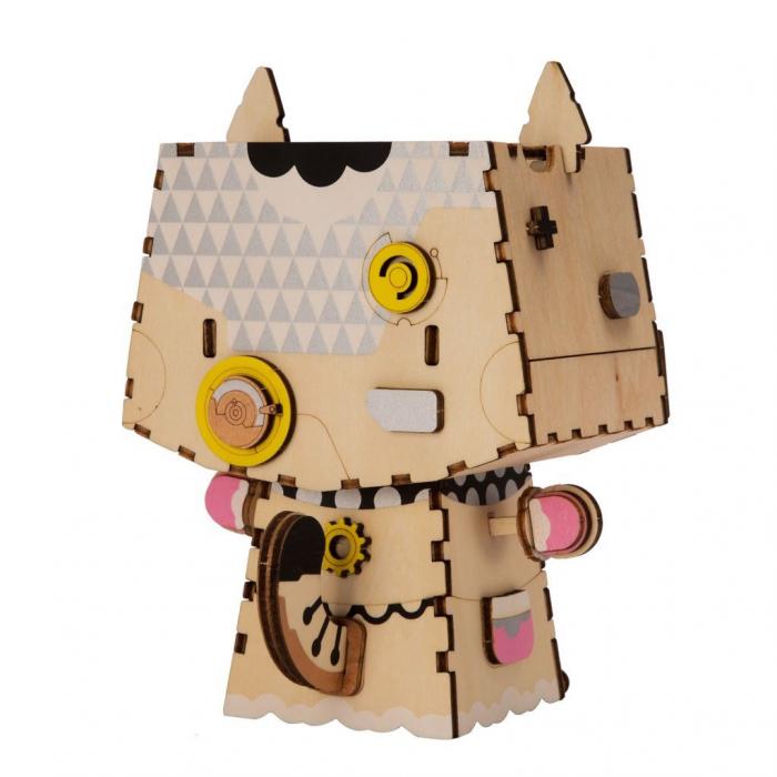 Puzzle 3D din lemn, Ghiveci - pisica, 70 piese [1]