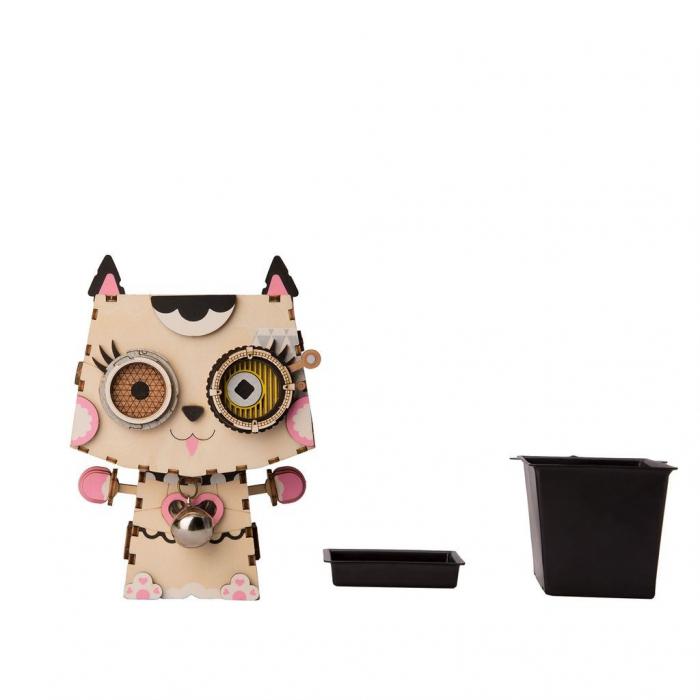 Puzzle 3D din lemn, Ghiveci - pisica, 70 piese [2]
