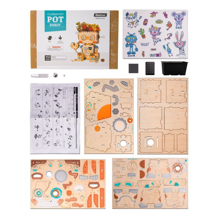 Puzzle 3D din lemn, Ghiveci - robotel, 112 piese [5]