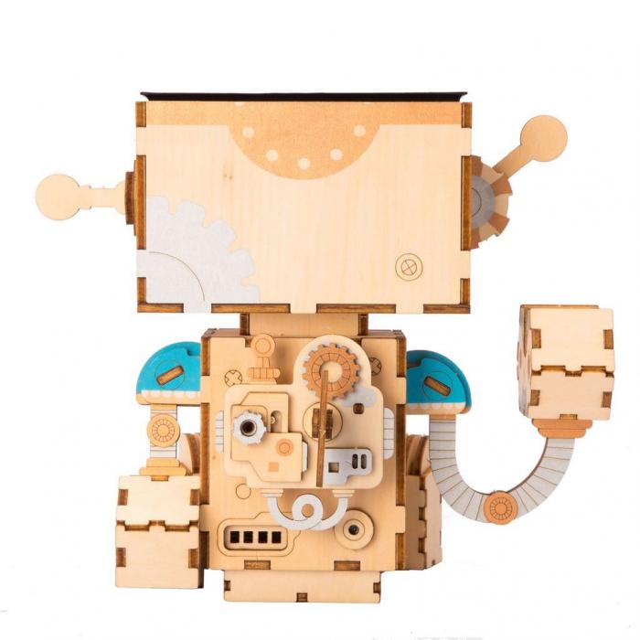 Puzzle 3D din lemn, Ghiveci - robotel, 112 piese [3]