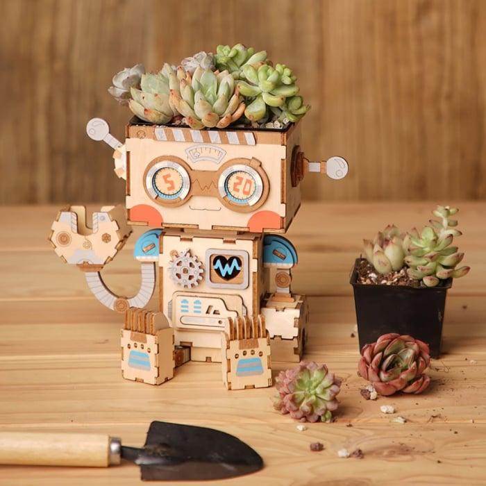 Puzzle 3D din lemn, Ghiveci - robotel, 112 piese [6]