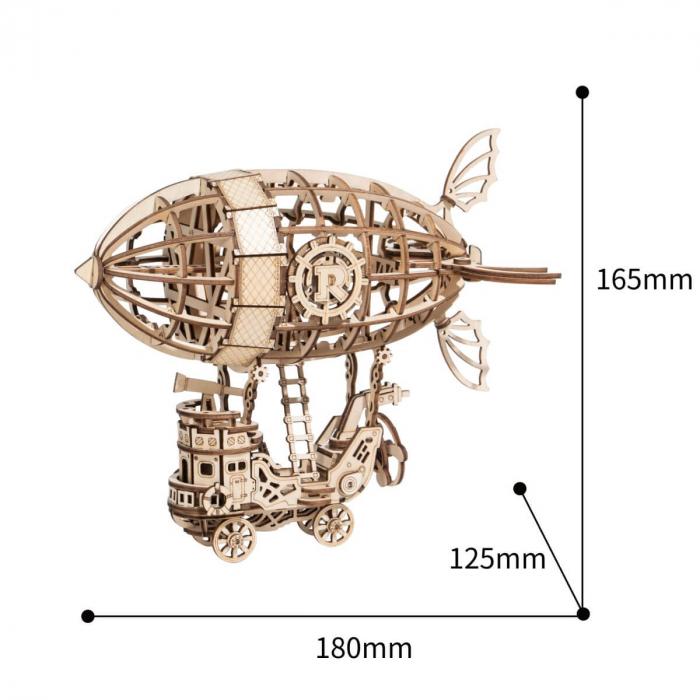 Puzzle 3D Dirijabil Steampunk, Lemn, 176 piese 3