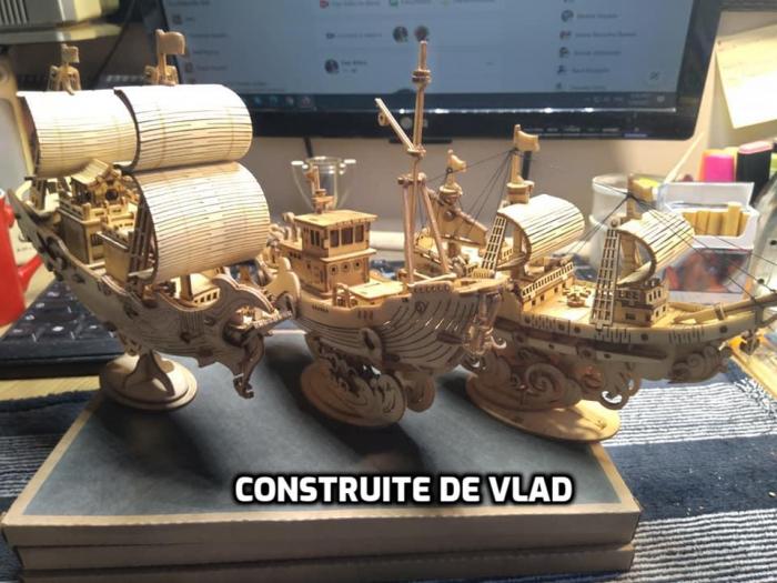 Puzzle 3D Fishing Ship, Lemn, 104 piese [1]