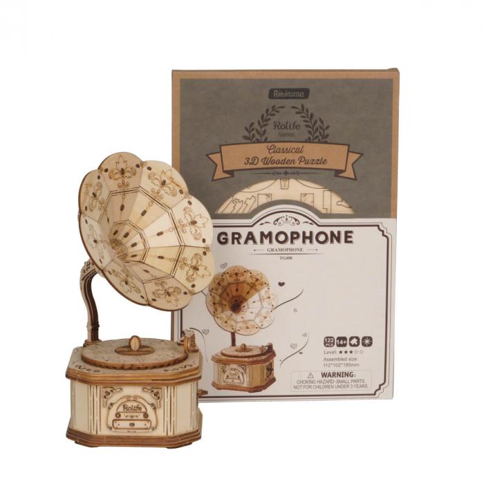 Puzzle 3D Gramofon, Lemn, 122 piese 2