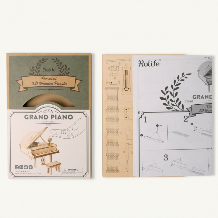 Puzzle 3D Grand Piano, Lemn, 74 piese 2