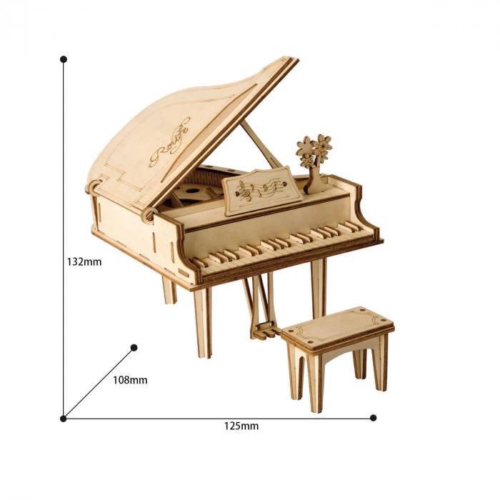 Puzzle 3D Grand Piano, Lemn, 74 piese 3