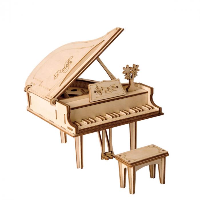 Puzzle 3D Grand Piano, Lemn, 74 piese 0