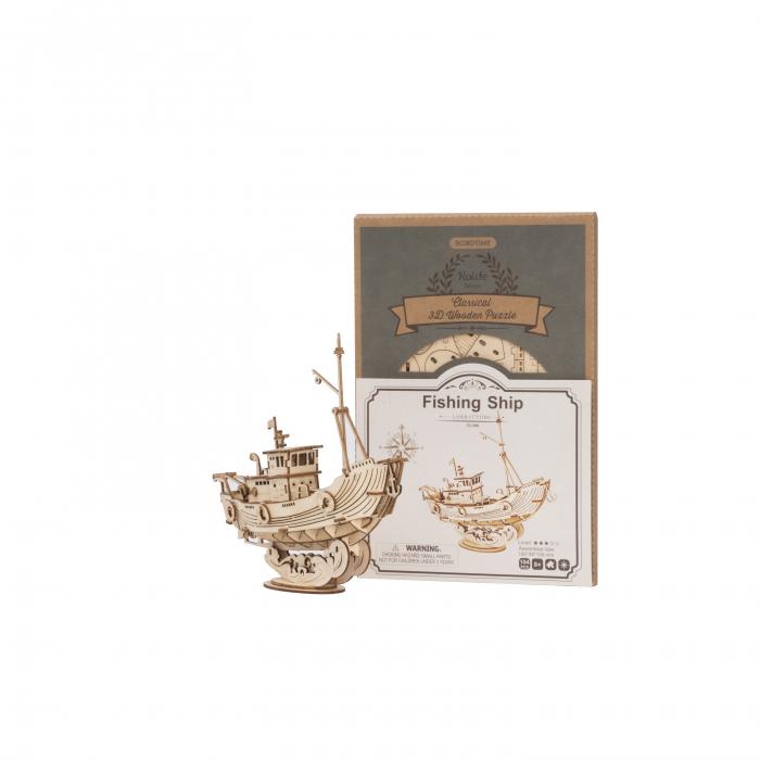 Puzzle 3D Fishing Ship, Lemn, 104 piese 1