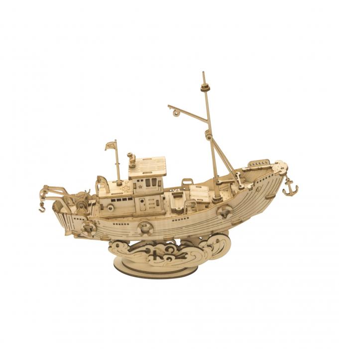 Puzzle 3D Fishing Ship, Lemn, 104 piese 0