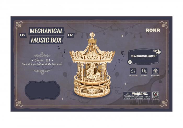 Puzzle 3D, lemn, cutiuta muzicala, Carusel Romantic 1