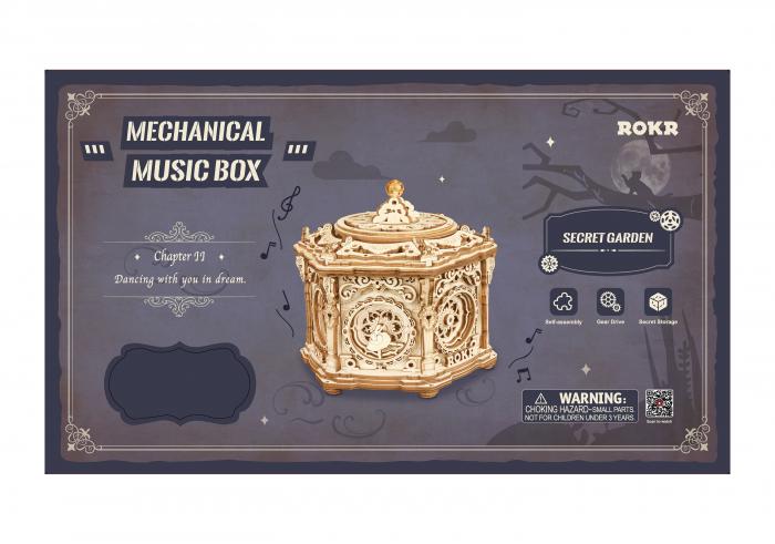 Puzzle 3D, lemn, cutiuta muzicala, Gradina secreta [1]