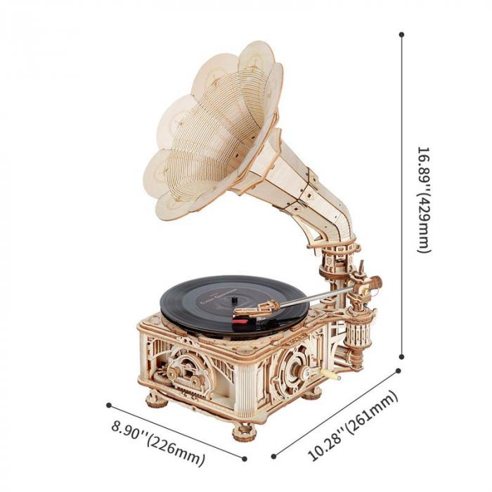 Puzzle 3D, Gramofon clasic, rotire cu manivela sau electrica [1]
