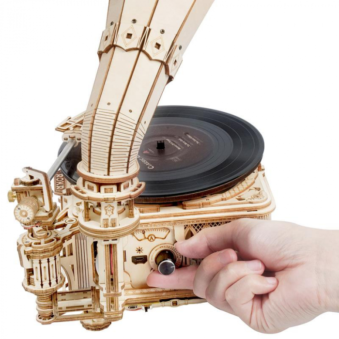 Puzzle 3D, Gramofon clasic, rotire cu manivela sau electrica [2]