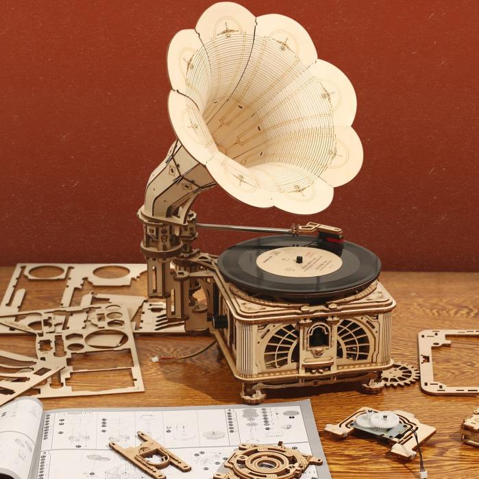 Puzzle 3D, Gramofon clasic, rotire cu manivela sau electrica [8]