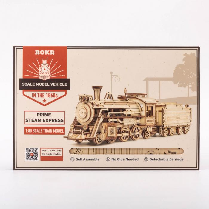 Puzzle 3D Locomotiva cu abur, Lemn, 308 piese 4