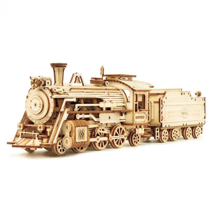 Puzzle 3D Locomotiva cu abur, Lemn, 308 piese 0