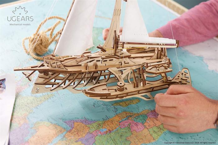 Puzzle 3D Mecanic, Barca Trimaran, 237 piese [5]