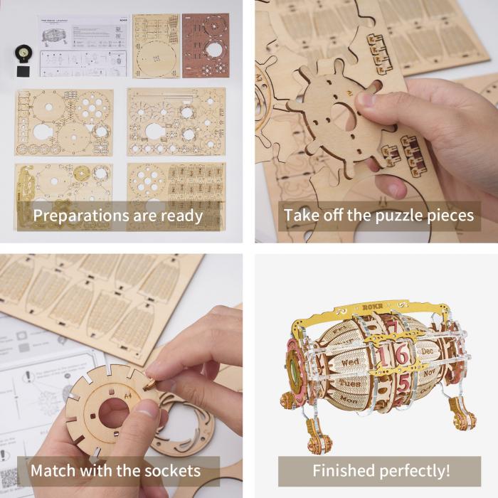 Puzzle 3D Mecanic , Ceas Calendar Masina Timpului, 250 piese 11
