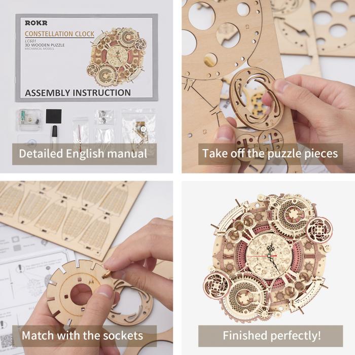 Puzzle 3D Mecanic, Ceas de perete Zodiac, 168 piese 8
