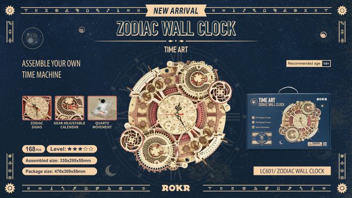 Puzzle 3D Mecanic, Ceas de perete Zodiac, 168 piese 10