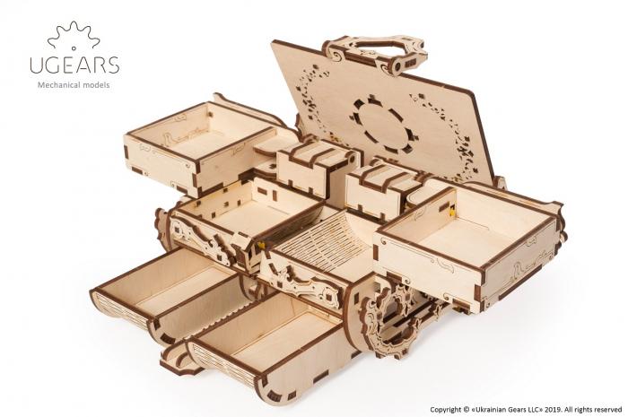 Puzzle 3D Mecanic, Cutie Antica de Bijuterii, 185 piese [2]