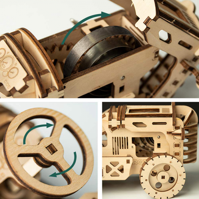 Puzzle 3D Mecanic Tractor, Lemn 4
