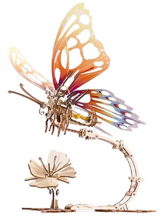Puzzle 3D Mecanic , Fluture cu floare [1]