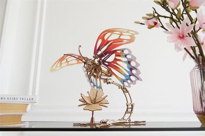 Puzzle 3D Mecanic , Fluture cu floare [2]